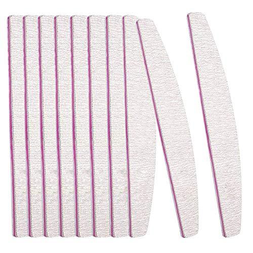 BREEZO 10 Stück Nagelfeile Set Nagel Buffer Körnung 100/180 Professionelle Doppelseitige Nagelfeilen und Buffer Schmirgel Boards Einweg Nagelfeile Robust und verschleißfest für natürliche Nägel Grau