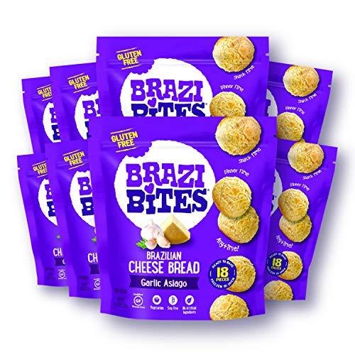 Brazi Bites Gluten-Free Brazilian Cheese Bread: Garlic Asiago VegetarianFrozen Bread Snacks Soy-Free  No Artificial Ingredients No Preservatives   11.5 oz. pouches (8-pack)
