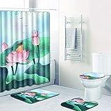 Wasserdichter Duschvorhang Aus Lackiertem Polyester Duschraum rutschfeste Bodenmatte Toilette Toilettenmatte Fußmatte Kombination 4-Teiliges Set