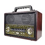 Radio Retro De Madera, Radio Am SW FM, Altavoz Inalámbrico Bluetooth, con Estilo Antiguo, Graves Fuertes, Mini Audio Fuera De Volumen Alto,Marrón