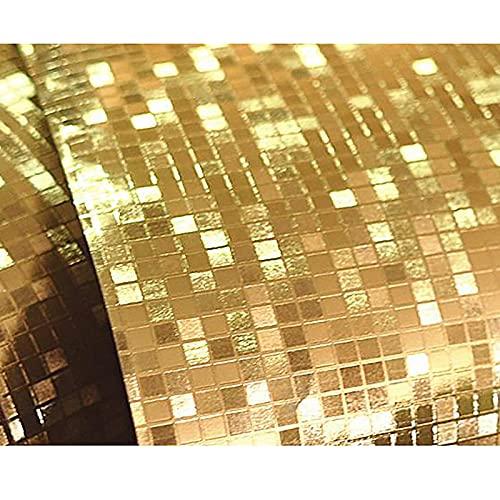 HFSKJ Papel Pintado Tridimensional 3D Golden Lattice Gold Foil Mosaic Baño Cocina Pilar KTV Contador Wallpaper