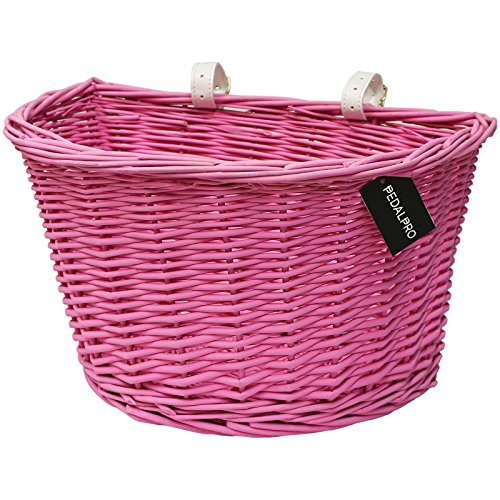PedalPro Pink Wicker Bicycle Basket with White Handlebar Straps