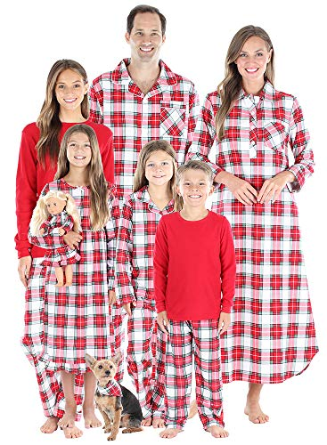 SleepytimePJs Matching Family Christmas Pajama Sets, Red & White Plaid Flannel - Infant, 6M