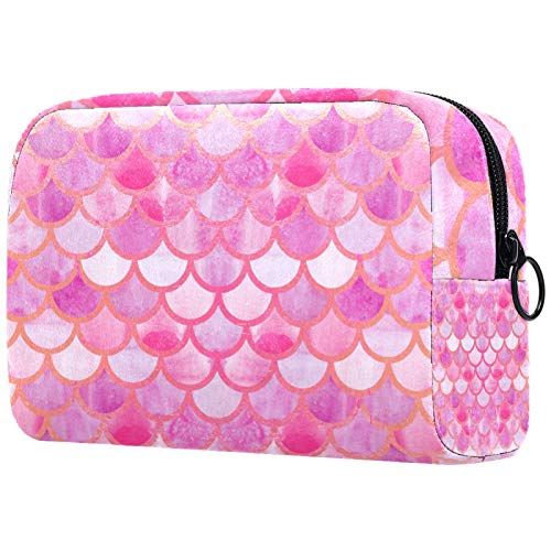 ATOMO Makeup Bag, Fashion Cosmetic Travel Bag Large Toiletry Bag Makeup Organizer for Women, Pink Mermaid Fish Scales