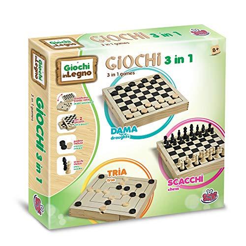 Grandi Giochi- Dama Scacchi e tria, Multicolore, GG95001