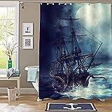 N\A Juego de Cortina de Ducha náutica para veleros, Monstruo Marino Gigante Pulpo Kraken Attack Pirate Ship Art Print baño decoración para Hombres y niños Ocean Animal Regalos temáticos