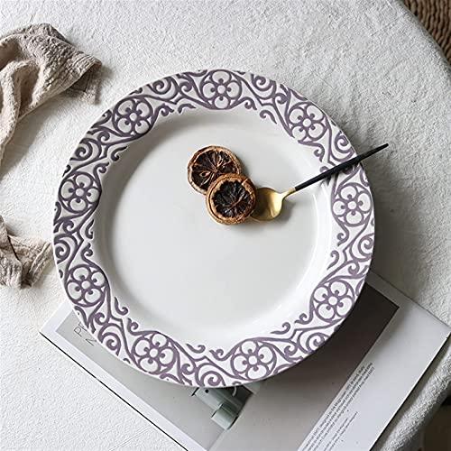 Placas de Cena Pintada a Mano Flor de Viento de 10 Pulgadas Plato de cerámica para el hogar Placa de decoración (Color: c) TINGG (Color : D)