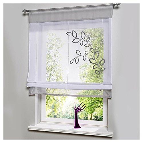 KOU-DECO Tunnelzug Raffgardine Blumen Stickerei Raffrollo Voile Transparente Weiße Vorhang mit Stangen 1 Stück (Grau, 80x120cm)