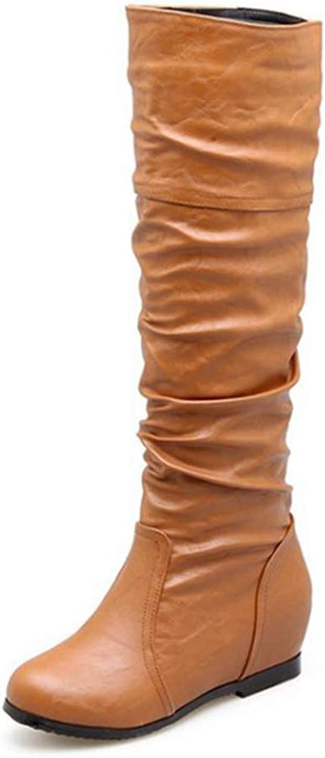 Hoxekle Woman Knee High Boots Slip On Wedge Low Heel Round Toe Pleated Winter Warm Ladies Fashion Long Boots