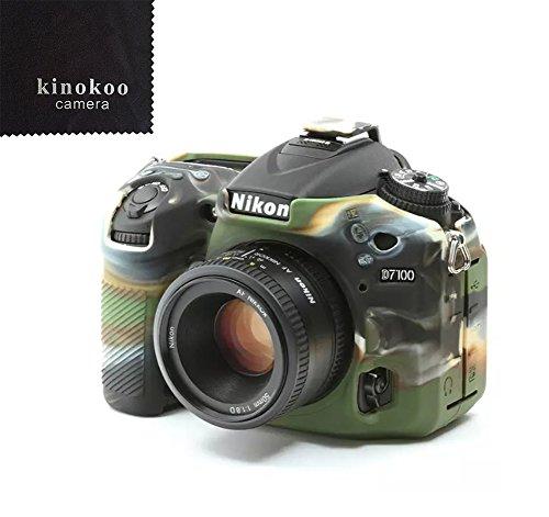 kinokoo Custodia protettiva in silicone per Nikon D7100 D7200 Custodia protettiva per fotocamera DSLR (camuffare)