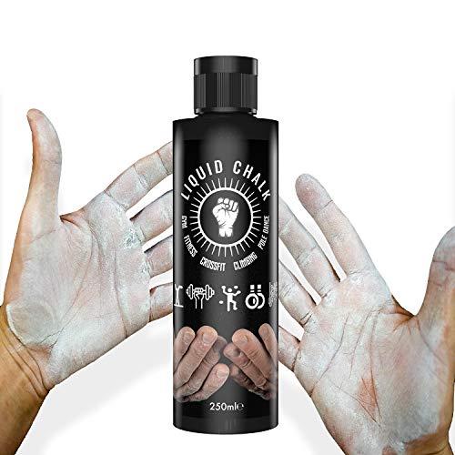 Magnesio líquido, 250 ml – Tiza máxima adherencia (Liquid Chalk) musculación Crossfit Halterofilia Escalada Gimnasia Pole Dance Atlétismo (Perca, Lanzador del Peso, lejía, Martillo, Disco)