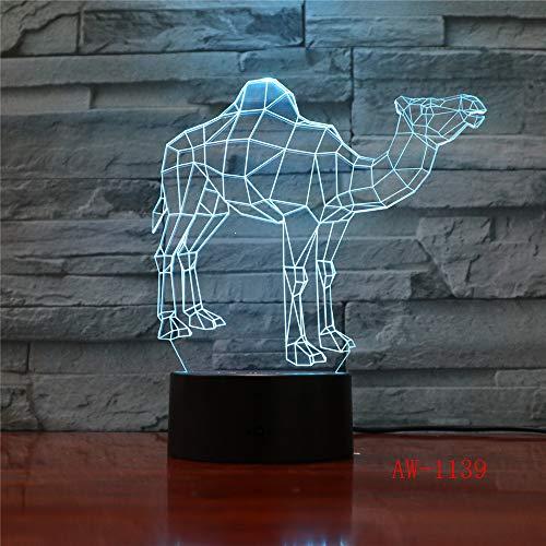 7 Luces de Color Camello del Desierto en 3D con lámparas de luz Nocturna LED visuales con decoración de Control Remoto como Baby Mood 6 Sin Controlador