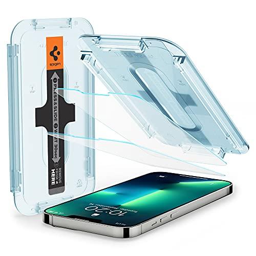 Spigen Glas.tR EZ Fit Schutzfolie kompatibel mit iPhone 13, iPhone 13 Pro, 2 Stück, Kratzfest, 9H Festigkeit Folie