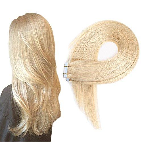 Echthaar Tape in Extensions Haarverdichtung Haarverlängerung glatt 20 Tressen x 4 cm breit 40 cm Hellblond