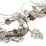 Factory Direct Craft Silver Glittered Artificial Holly, Rusted Jingle Bell and Pip Berry Garland for Holiday and Home Decor