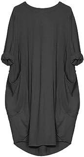 LOPILY Damen Sommerkleider Casual Pocket Strand Party Karneval T-Shirt Kleid Blusenkleid Einfarbig Einfach Bequem Freizeit Strandkleid Schlauchrock Minikleid mit Taschen