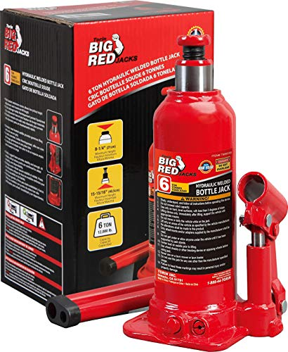 BIG RED TAM90603B Torin Hydraulic Welded Bottle Jack, 6 Ton (12,000 lb) Capacity, Red