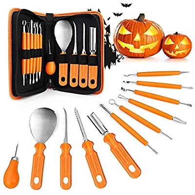 Halloween Pumpkin Carving Set,11 Pieces Pumpkin Cutting Tools Professional and Heavy Duty Stainless Steel Pumpkin Carving Tools Kit for Halloween DIY Decoration
