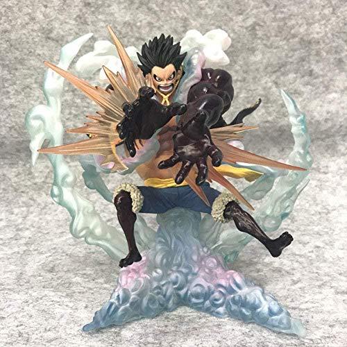 SDFDSR One Piece Anime Doll Zero Super Violent Battle Four-Gear Luffy Logs Logets Launcher Versión Escultura Estatua Toy Figura Decoración Modelo Figura 17cm Altura