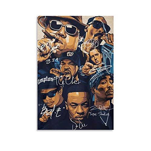 QASD Great Rap Legends Notorious Big Snoop Dogg Ice Cube and Tu-pac Canvas Art Prints Poster Bedroom Wall Mural Modern Family Home Decor 08x12inch(20x30cm)