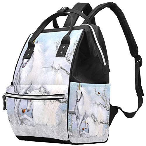 Backpacks Diaper Bag Laptop Rucksack Lightweight Hiking Camping Travel Daypack for Women Winter Unicorn Tree Bird Animal Magic
