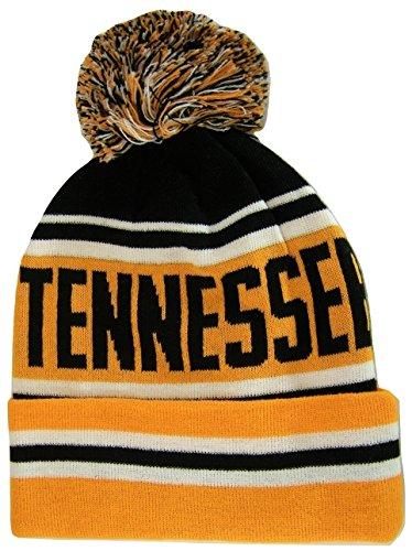 BVE Sports Novelties Tennessee Adult Size Striped Winter Knit Beanie Hats (Orange)