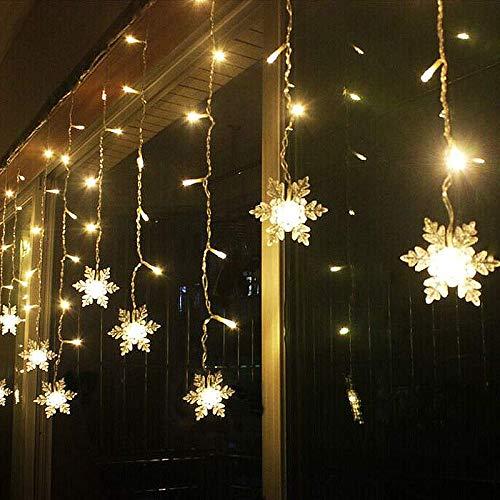 LED Lichterketten Vorhang, THOWALL 5.5*0.7M 93 LED Lichtervorhang mit 8 Modi & 16 Haken & 16 Große Schneeflocken für Schlafzimmer Hochzeit Geburtstag Garten Fenster Innen und Außen Deko, Warmes Gelb