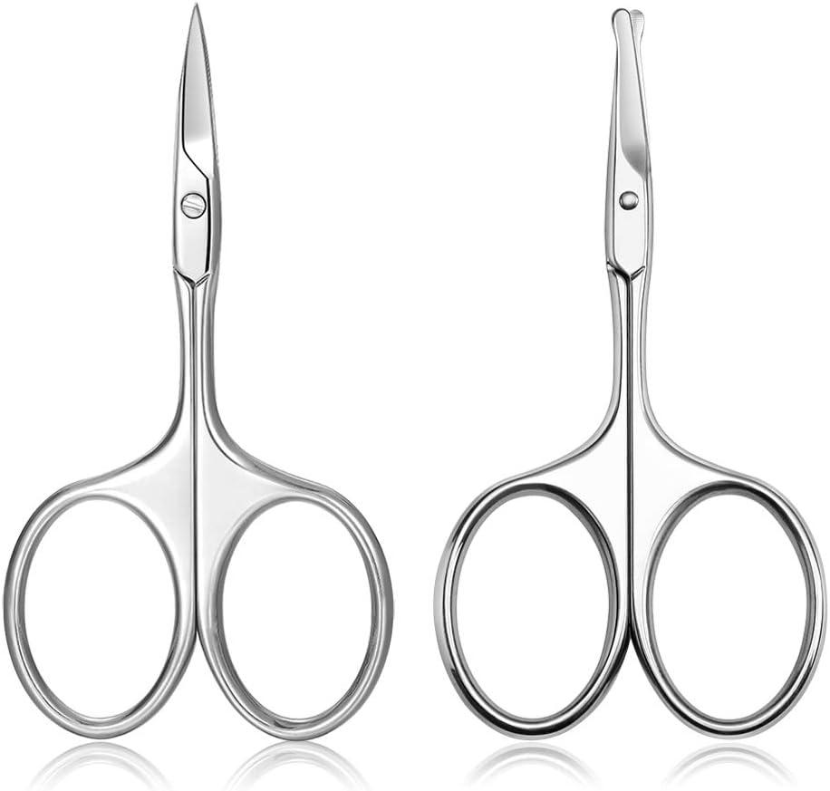 FERYES Tijeras de cejas pequeñas y tijeras para el pelo de la nariz, 2 tijeras para el pelo facial de alta calidad, tijeras afiladas para el cuidado de la cutícula de uñas para mujeres y hombres