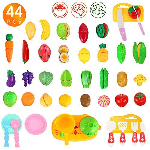 Ucradle Kinderküche Spielküche Zubehör Lebensmittel Spielzeug Küchenspielzeug Spielküchen Zubehör Plastik Gemüse Obst mit Klett-Verbindung, Kinder Lern Rollenspiel Lernspielzeug Geschenk (44 PCS)