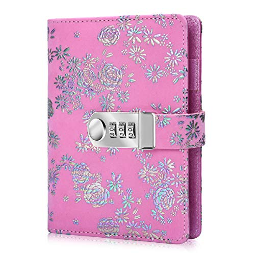 ARRLSDB Diary with Lock, PU Leather Multi Color Combination Lock Journal (Combination Lock Diary) A6 Refillable Personal Locking Diary (Pink)