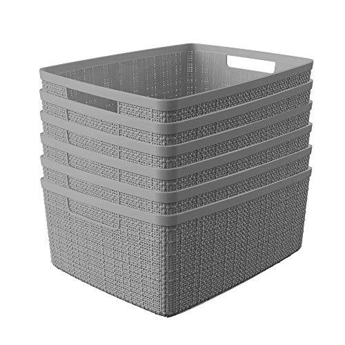 Curver Set of 6 - Perfect Bins for Home Office, Closet Shelves, Kitchen Pantry and All Bedroom Essentials Jute Medium Decorative Plastic, Grey