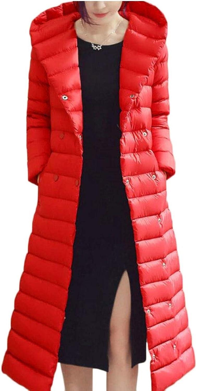 Qiangjinjiu Women Winter Plus Size Solid Coat Long Hooded Down Jacket