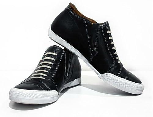 Modello Trapani - Cuero Italiano Hecho A Mano Hombre Piel azul Marino zapatos Casuales Turnzapatos - Cuero Cuero Suave - Ponerse