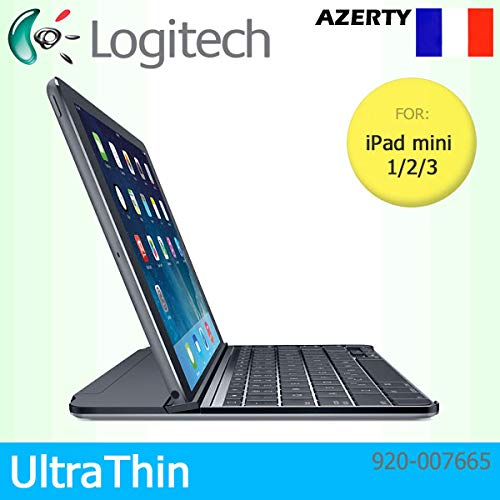 Logitech UltraThin Magnetic Clip-On Bluetooth Cover for Apple iPad mini 1/2/3 Only - AZERTY French Keyboard Layout - Black