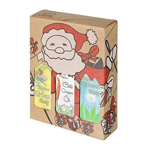 Weihnachts Genuss-Box - Feinkost Geschenk-Set - 3 x 100ml Fläschchen: 2 x Essig, 1 x Öl - Allgäuer Delikatessen mit Weihnachts Geschenkverpackung