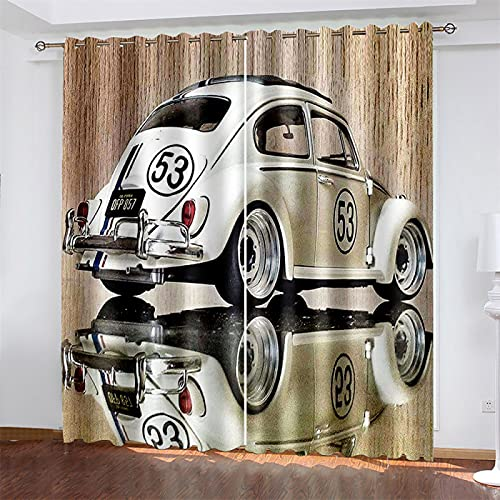 HOMEIEU Cortinas Opacas Y Aislantes Térmicas para Automóviles En 3D, Cortinas De Ojales para Sala De Estar Y Dormitorio, Cortinas para Habitaciones De Niños (W117xH183cm-2PCS)
