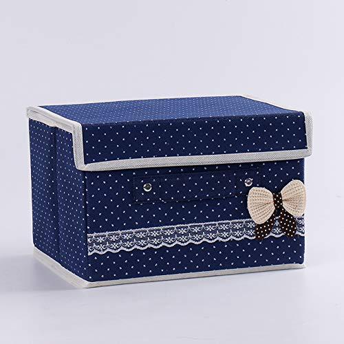 Niet-geweven opbergdoos afwerkingsdoos bodem kan vouwen de doos doek gesp speelgoed opbergdoos 39 x 24 x 25cm (1.3 karton) Blauw