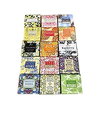 French Milled Botanical Soap Sampler Set of Nine in Fabulous Scents, Individually Wrapped Vegetable Based Mini Soaps with Essential Oils, Shea Butter and Natural Extracts