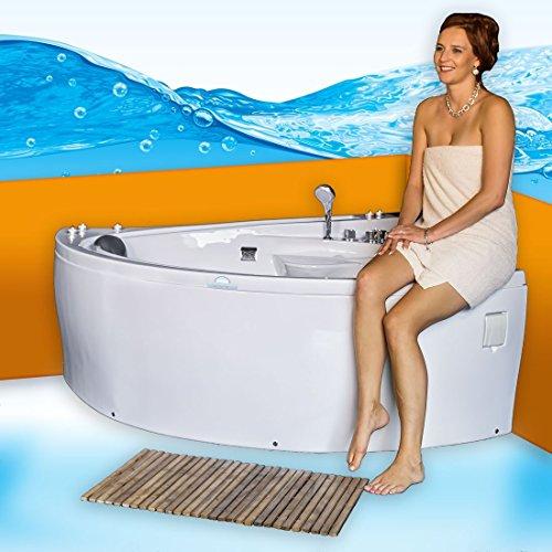 Eckwanne Whirlpool Pool Badewanne A615R Reinigungsfunktion 165x148, Selfclean:ohne +0.-EUR, Sonderfunktion2:Ring-Zirkulation +30.-EUR
