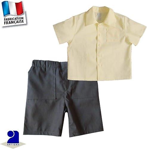 Poussin Bleu - Bermuda et chemise 0 mois-10 ans Made In France Couleur - Jaune, Taille - 94 cm 3 ans