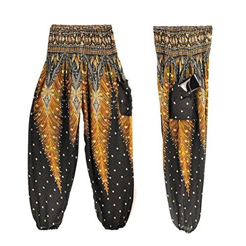 SHOBDW Hombres Mujeres tailandesas Pantalones de harén Festival Hippy Delantal Hippie Alta Cintura Pantalones de Yoga
