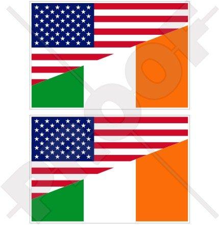 Lot de 2 autocollants en vinyle pour pare-chocs Motif drapeau des États-Unis et de l'Irlande 75 mm