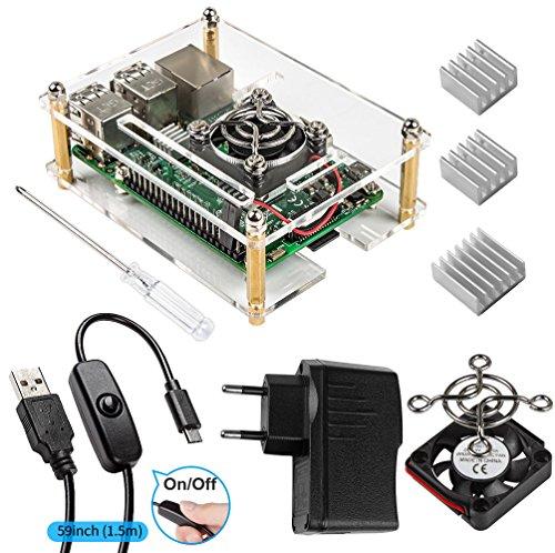 Für Raspberry Pi 3 Gehäuse mit Netzteil+ 3 x Kühlkörpern + Lüfter + USB Kabel mit EIN/AUS Schalter Kompatible with Raspberry Pi 3b+ Case und 3 2 Model b (Raspberry Pi Board Nicht enthalten)