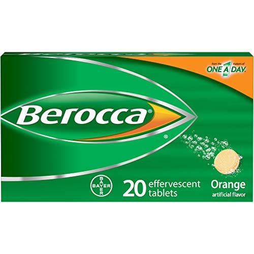 Berocca with Vitamin C 1000mg, Zinc, Biotin, B12 Vitamin Energy Supplement, Orange Flavor Effervescent Tablets, 20 Count