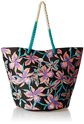 Roxy Damen Strandtasche SUN SEEKER J TOTE, True Black Maui Lights, 35.6 x 58.4 x 38 cm, 24 Liter