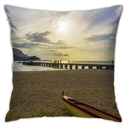 Traveler Shop Fundas de Almohada, Colores Elegantes y Modernos, para habitación Dormitorio Habitación Sofá Coche Hanalei-Bay-Pier-Outrigger-Canoe-Sunset-Kauai-Hawaii 18x18in