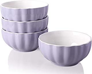 Sweejar Ceramic Fluted Bowl Set, 26 oz for Cereal, Salad, Pasta, Soup, Dishwasher Microwave Safe - set of 4