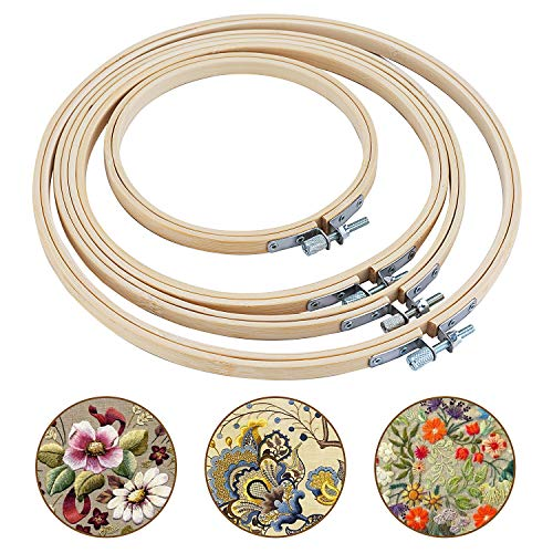 Bligo 4 Pieces 4 Sizes Round Embroidery Hoop Set, Bamboo Circle Cross Stitch Hoop Wooden Rings for DIY Art Craft Handy Sewing and Ornaments(13 cm, 17 cm, 20 cm, 23 cm)