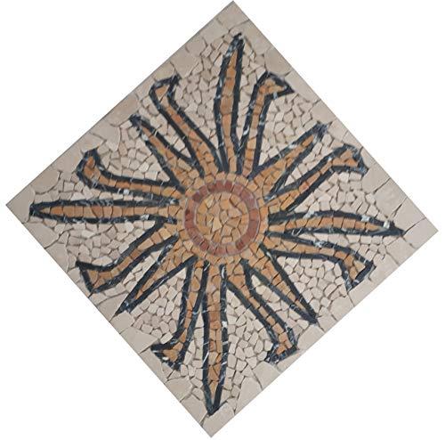 Naturstein Mosaik Rosone mit Sonne in italienischem Botticino Marmor im Format von 60 x 60 cm Fliesen
