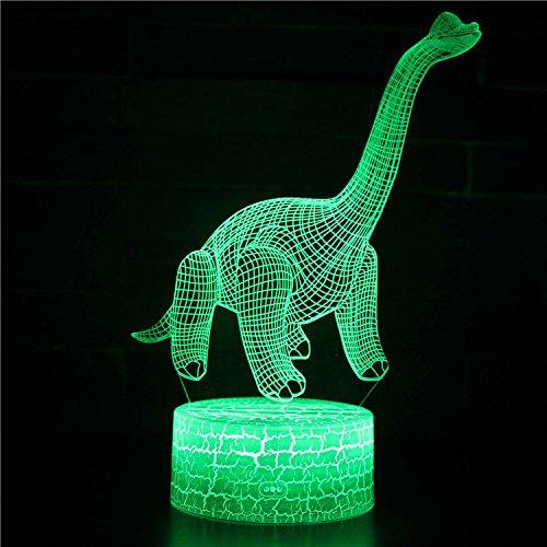 Fantasy Dinosaurio 3D Luz de Noche 16 Cambio de Color Lámpara Acrílico Plano ABS Base Cargador USB de la Decoración del Hogar Juguete Brithday Navidad Niño Niños Regalo